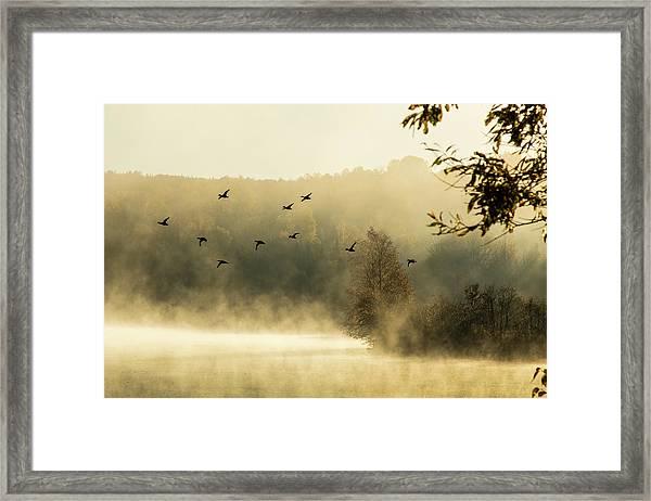 Morning Fog On Haley Pond In Rangeley Maine Framed Print