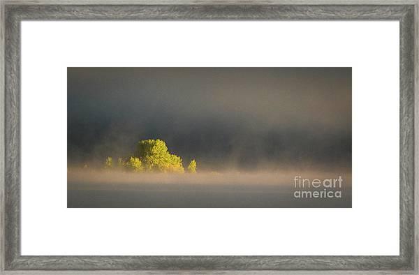 Morning Fog On Jackson Lake Grand Teton National Park  Framed Print