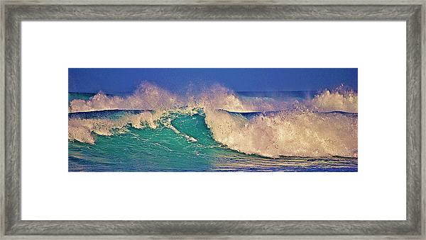 Morning Light On Breaking Waves Framed Print