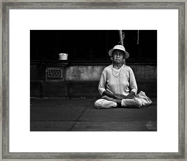Morning Meditation At Toronto City Hall Framed Print