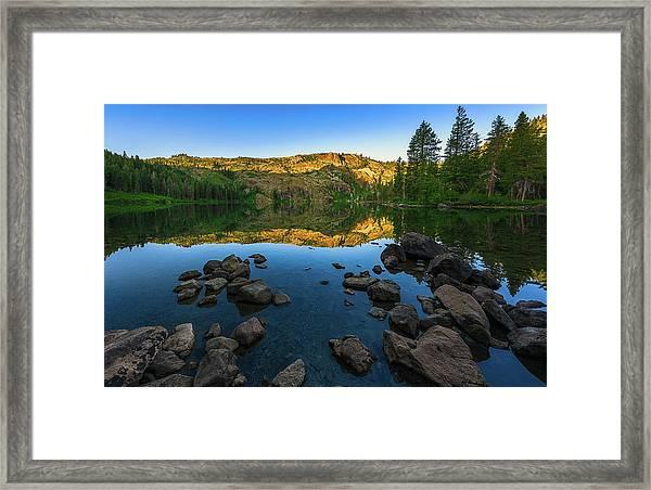 Morning Reflection On Castle Lake Framed Print
