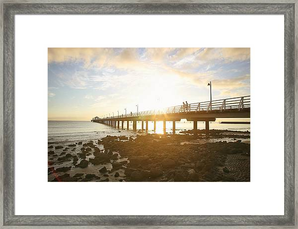 Morning Sunshine At The Pier  Framed Print