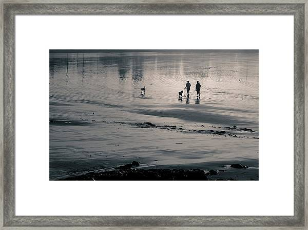 Morning Walk, Gooch's Beach, Kennebunk, Maine Framed Print