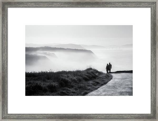 Morning Walk With Sea Mist Framed Print
