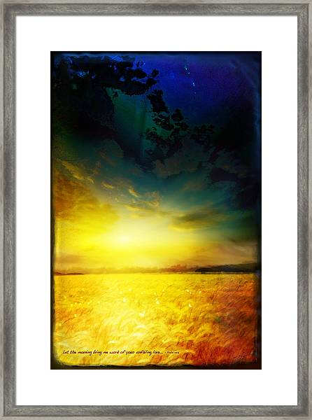 Framed Print featuring the mixed media Morning's Promise by Shevon Johnson
