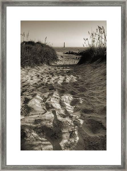 Morris Island Lighthouse Pathway Framed Print