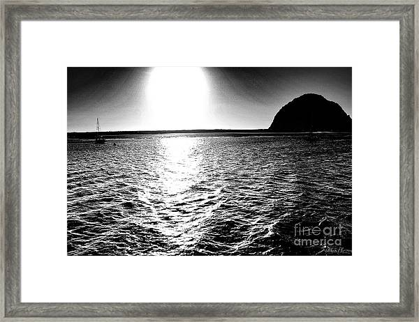 Morro Rock, Black And White Framed Print