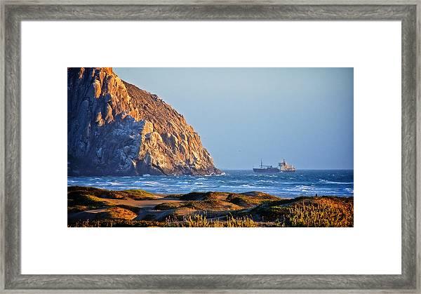 Fishing Trawler At Morro Rock Framed Print
