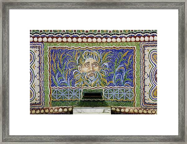 Mosaic Fountain At Getty Villa 1 Framed Print