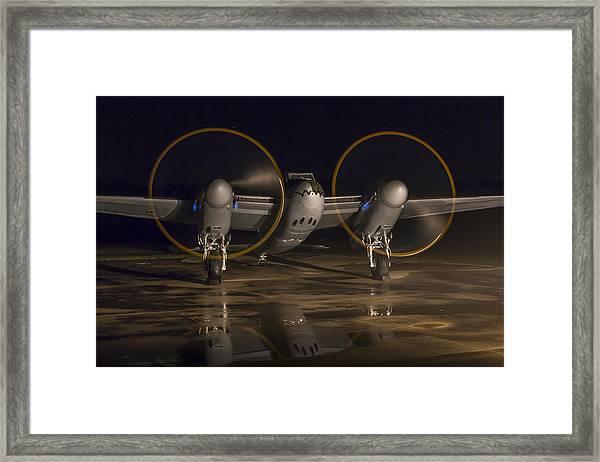 Mosquito Night Engine Run Framed Print