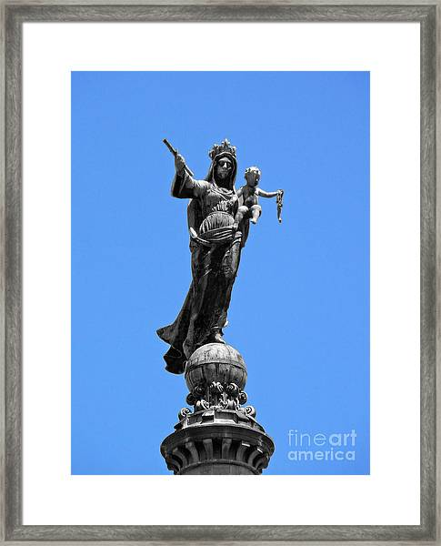 Mother And Child Rooftop Statue Framed Print