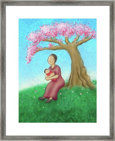 Mother And Child With Cherry Blossoms Framed Print