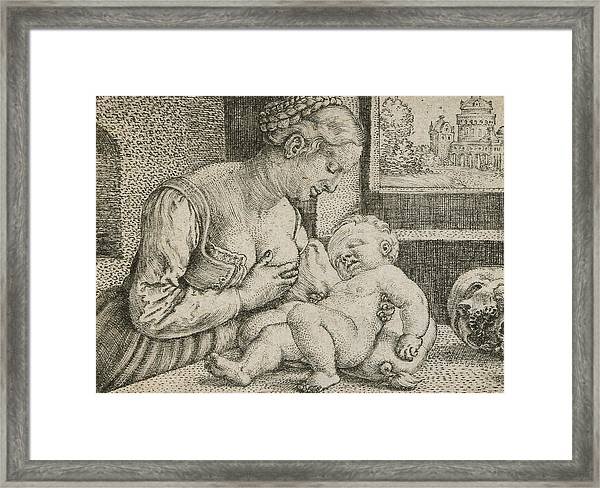 Mother And Child With Skull And Hourglass Framed Print