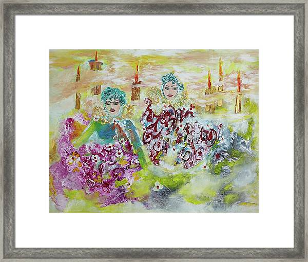 Mother And Daughter In Peace Framed Print