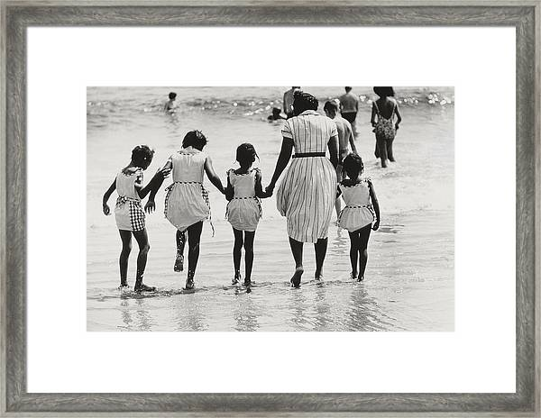 Mother And Four Daughters Entering Water At Coney Island Framed Print