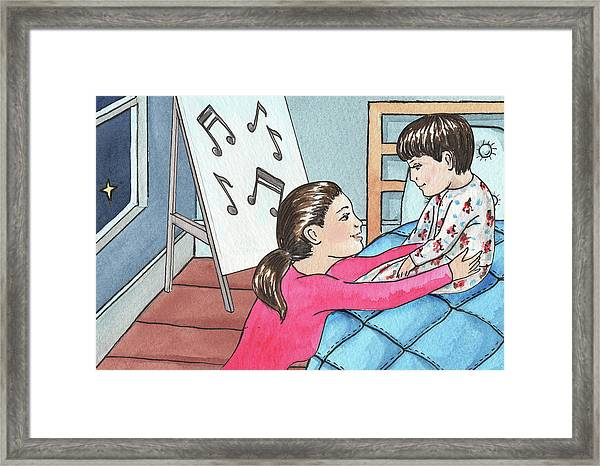 Mother And Son Good Night Baby Framed Print