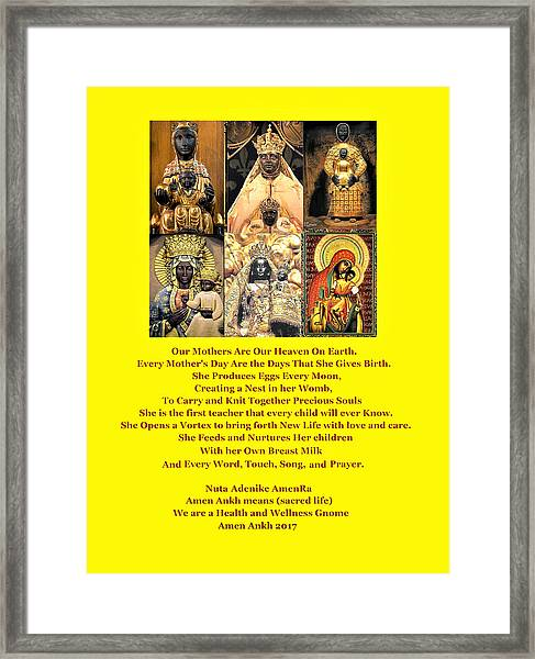 Mothers Are Heaven On Earth Framed Print