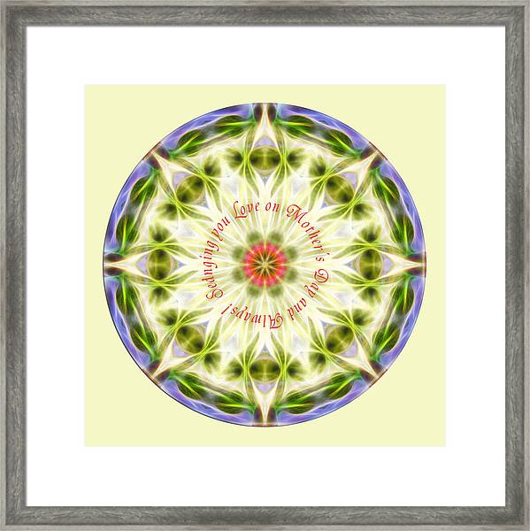 Framed Print featuring the digital art Mother's Day Mandala 1 by Beth Sawickie