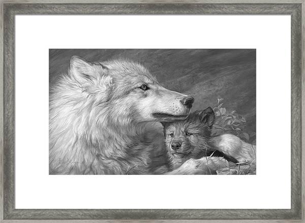 Mother's Love - Black And White Framed Print