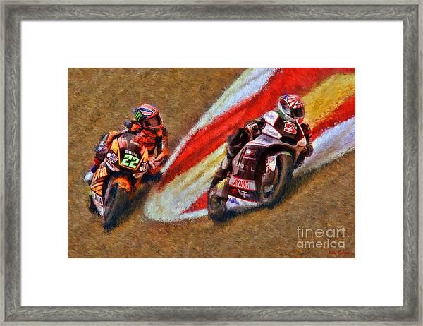 Moto2 Johann Zarco Leads Sam Lowes Framed Print