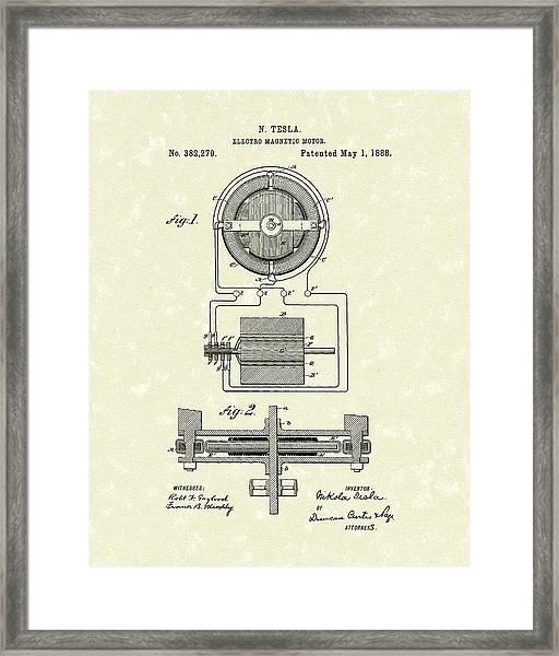 Motor 1888 Patent Art Framed Print
