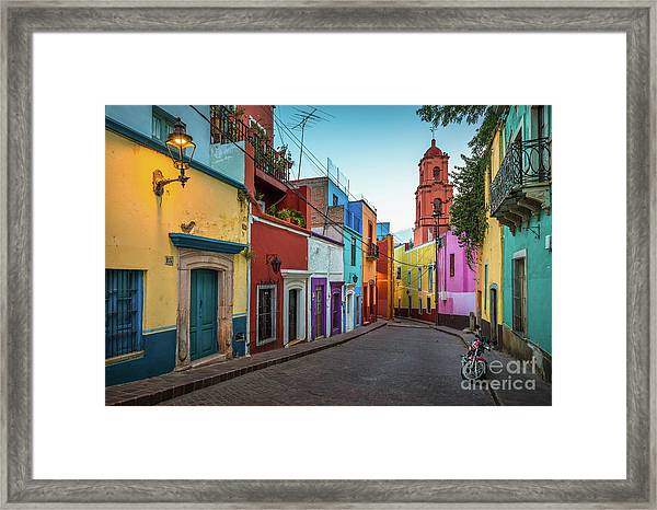 Motorcycle In Guanajuato Framed Print