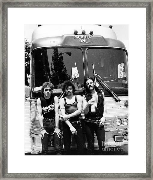 Motorhead 1982 Lemmy Kilmister,phil Taylor,brian Robertson Framed Print by Chris Walter