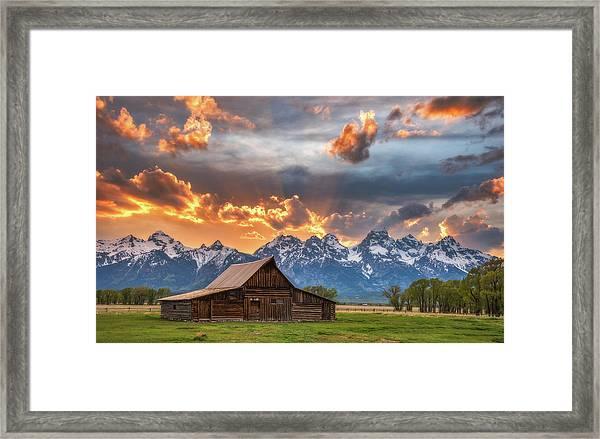 Moulton Barn Sunset Fire Framed Print