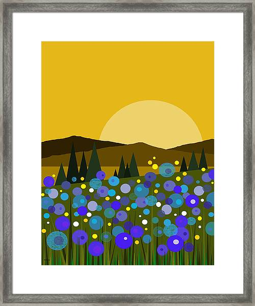 Mountain Meadow Sunrise And  Bluebells Framed Print