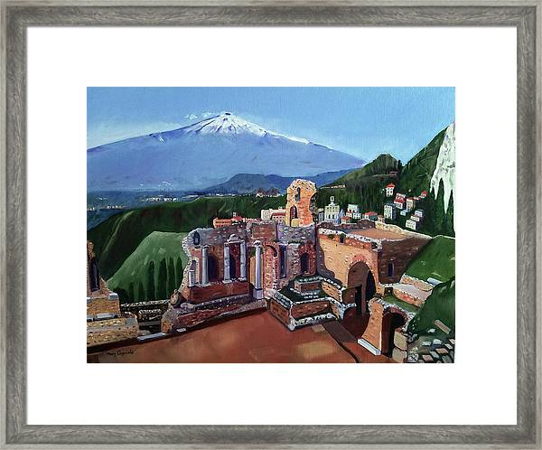 Mount Etna And Greek Theater In Taormina Sicily Framed Print