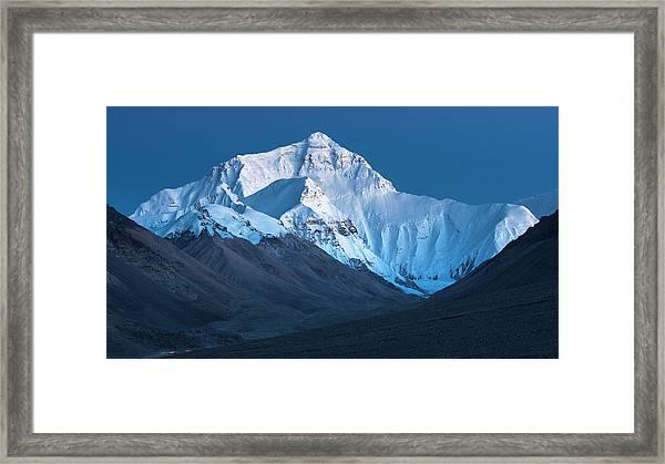 Mount Everest At Blue Hour, Rongbuk, 2007 Framed Print