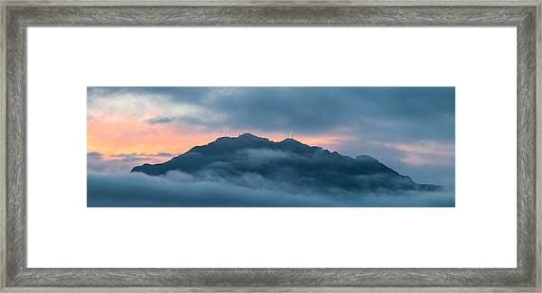 Mount Franklin Stormy Winter Sunset Pano Framed Print