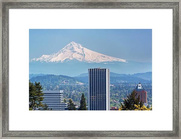 Mount Hood And Portland Framed Print