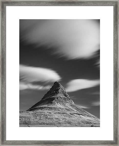 Mount Kirkjufell In Iceland Under The Sky Framed Print