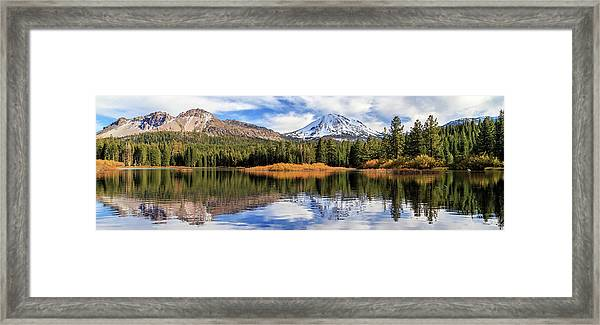 Mount Lassen Reflections Panorama Framed Print