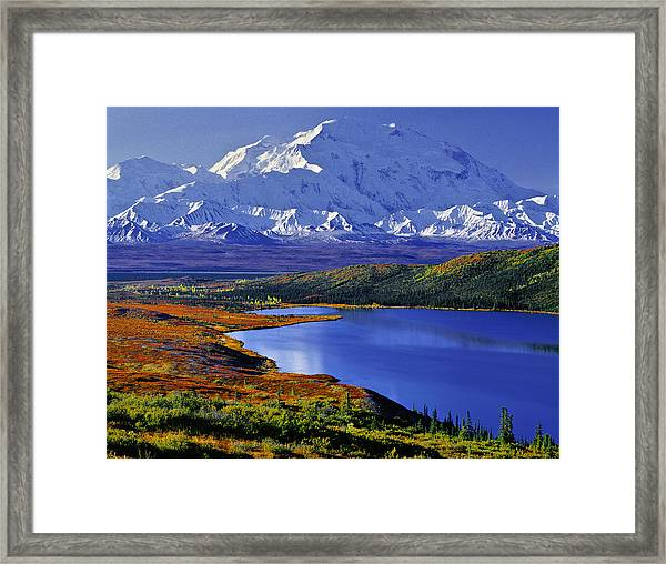 Mount Mckinley And Wonder Lake Campground In The Fall Framed Print