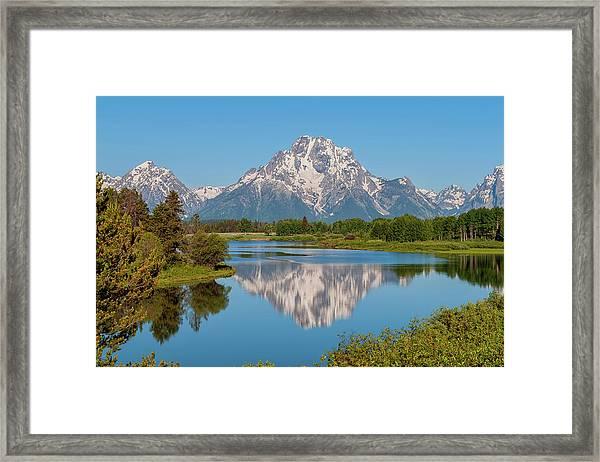 Mount Moran On Snake River Landscape Framed Print