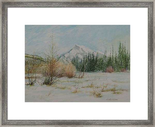 Mount Rundle In Winter Framed Print