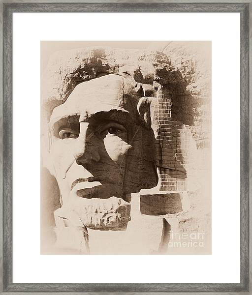Mount Rushmore Faces Lincoln Framed Print