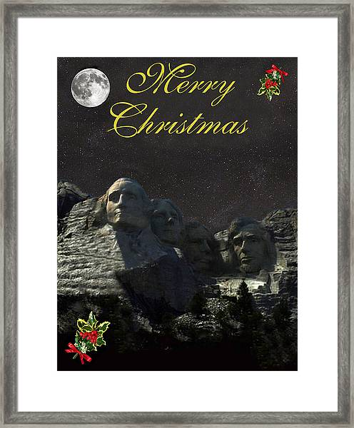 Framed Print featuring the mixed media Mount Rushmore Merry Christmas by Eric Kempson