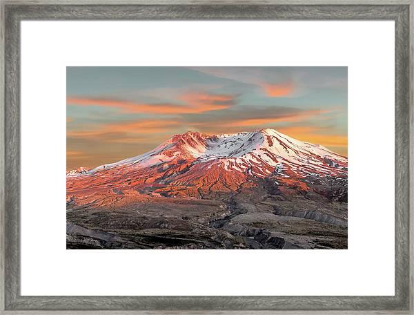 Mount St Helens Sunset Washington State Framed Print