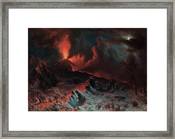 Mount Vesuvius At Midnight Framed Print