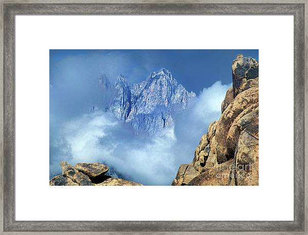 Mount Whitney Clearing Storm Eastern Sierras California Framed Print