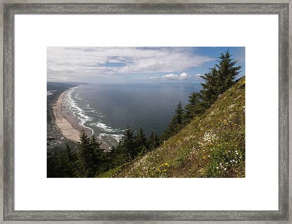 Mountain And Beach Framed Print