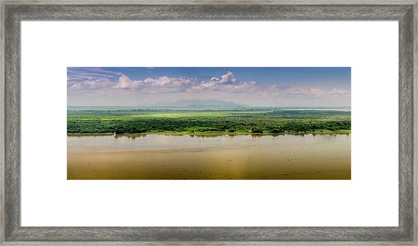 Mountain Beyond The River Framed Print