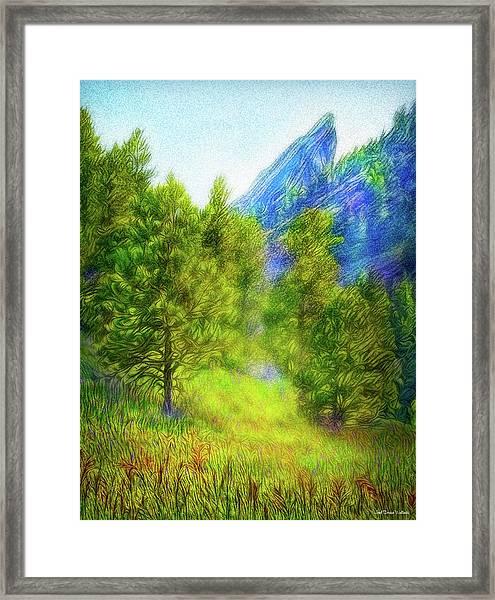 Mountain Field Springtime Framed Print
