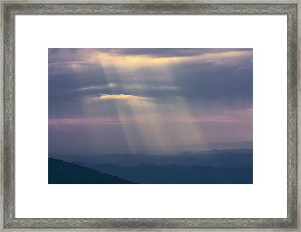Mountain God Rays Framed Print
