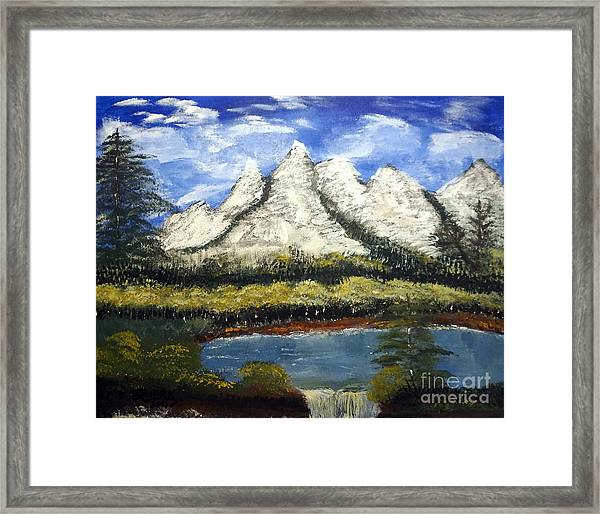 Mountains And Evergreens Framed Print