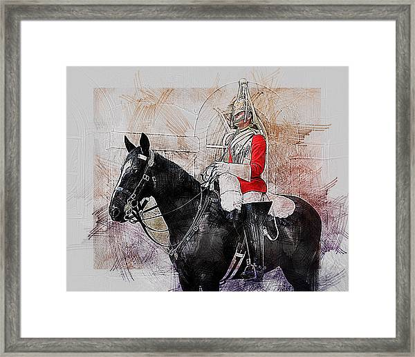 Mounted Household Cavalry Soldier On Guard Duty In Whitehall Lon Framed Print