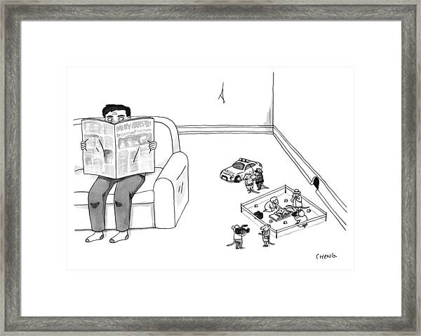 Mouse Crime Scene Framed Print by Alice Cheng